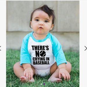 Turquoise & White 'No Crying in Baseball' Bodysuit
